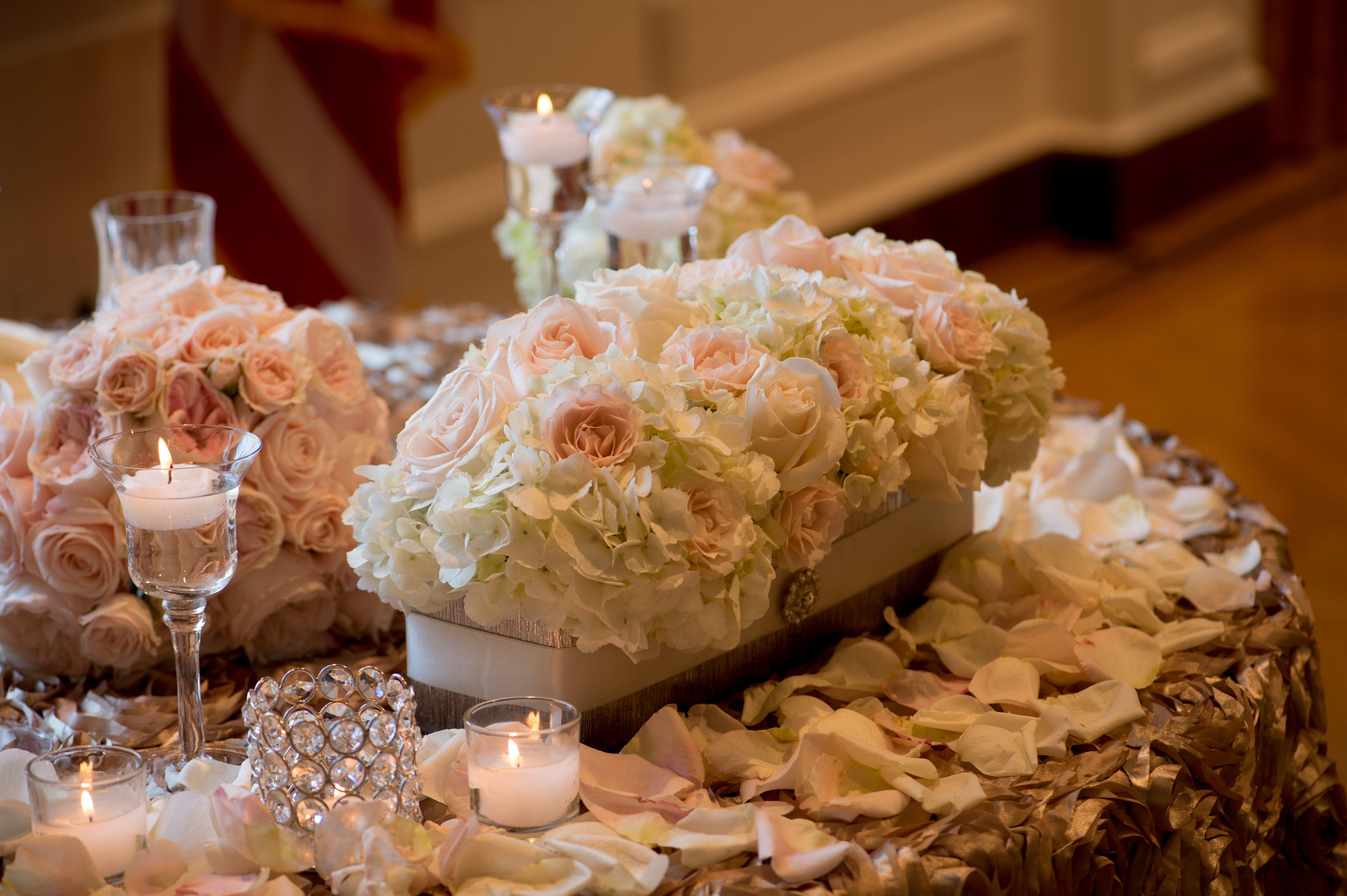 romantic sweetheart table, candlelight, vintage wedding, blush centerpiece, long stemmed votive holders.