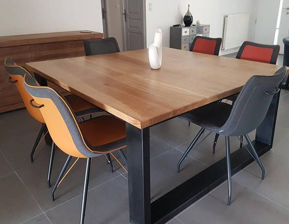 Dining table industrial style oak square solid steel base ...