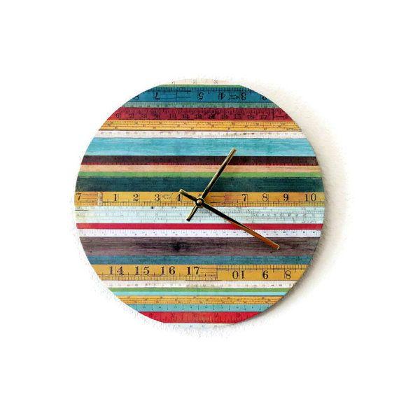 Unique Wall Clock Rainbow Wall Clock Home Decor by Shannybeebo