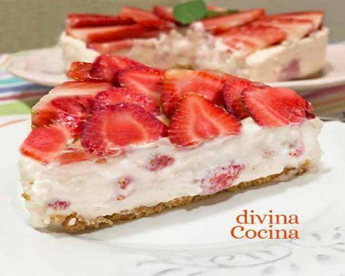 Tarta de fresas con nata sin horno