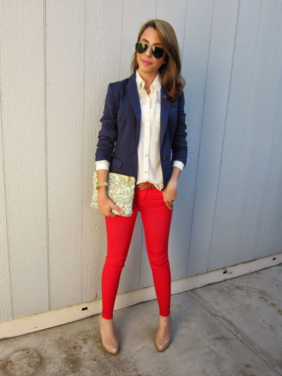 9 ways to wear red pants outfits at work Page 2 of 9