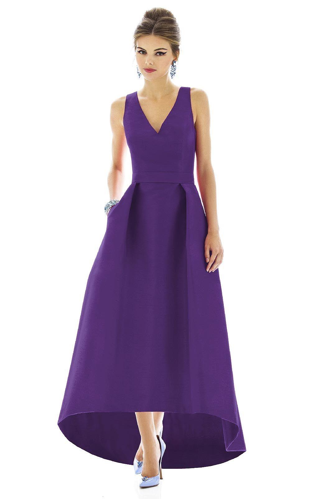 Wedding Apparel Dresses, Bridesmaid Dresses,Purple Ruched Deep V ...