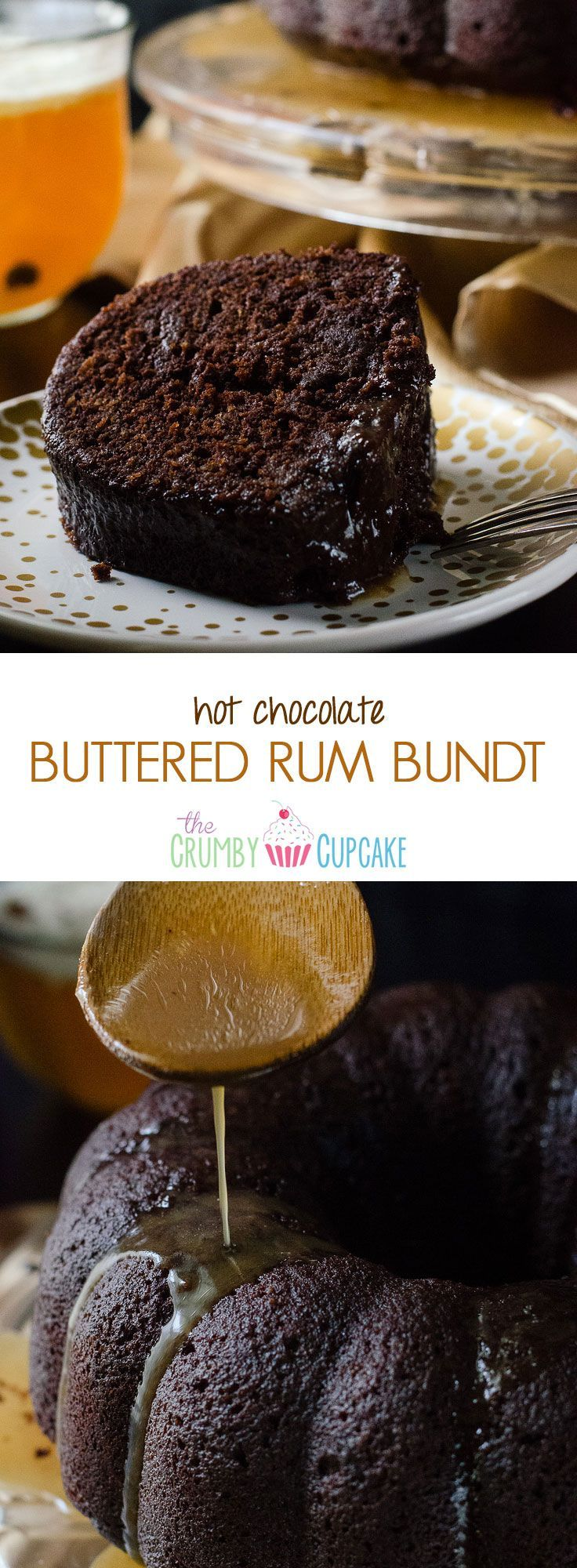 Hot Chocolate Buttered Rum Bundt | This dense chocolate cake is spiced and flavored like a mug of Hot Buttered Rum, then doused in a butter rum glaze - it's the ultimate boozy bundt!