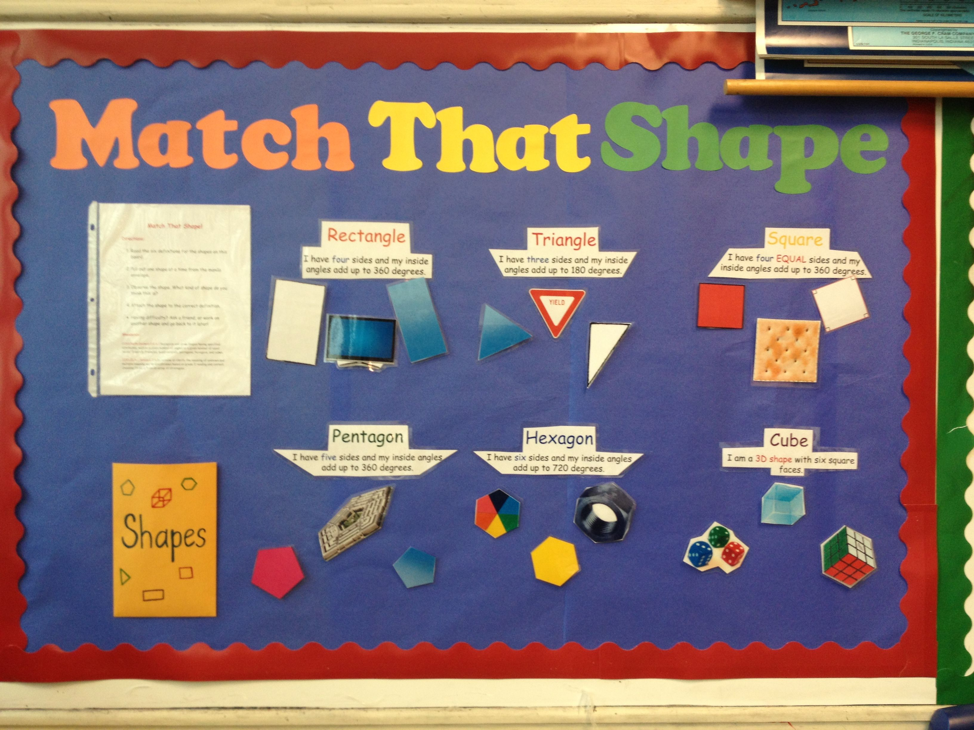 Second grade interactive bulletin board for shapes! The students ...