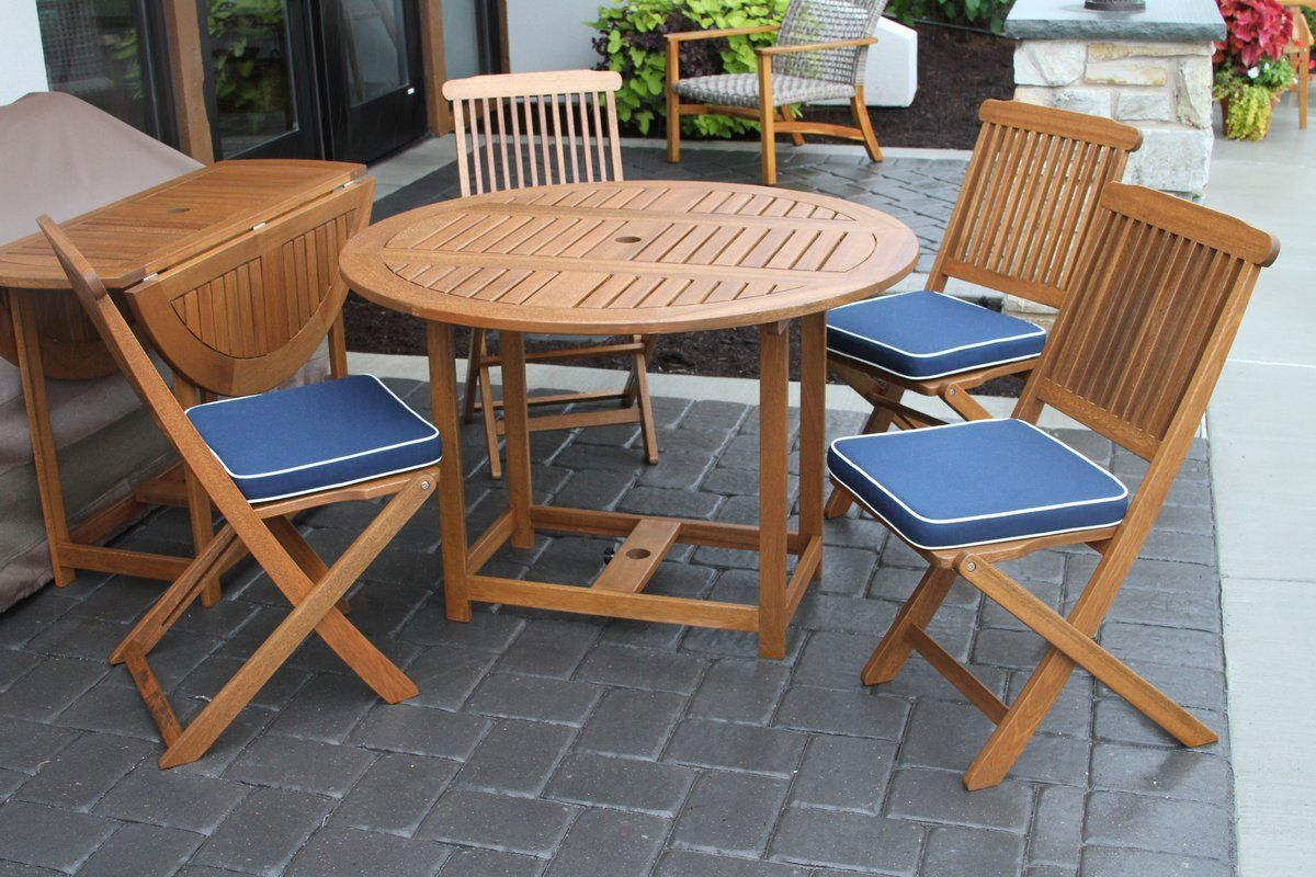 Wiscon round fold and store piece dining set