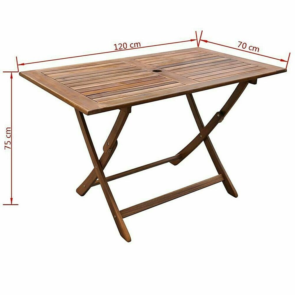 Outdoor Dining Table Solid Acacia Wood Patio Folding Table With