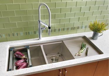 Blanco Precis Multilevel 1 3 4 Bowl With Drainer Blanco Modern Kitchen Sinks Kitchen Sink Design Double Kitchen Sink