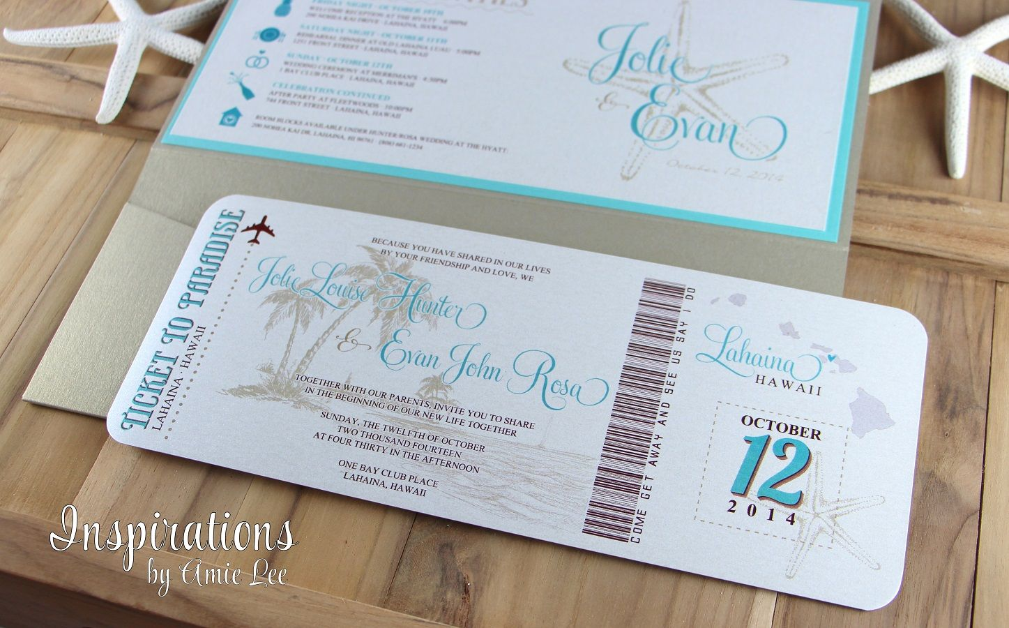 Boarding Pass Wedding Invitations by Inspirations by Amie Lee