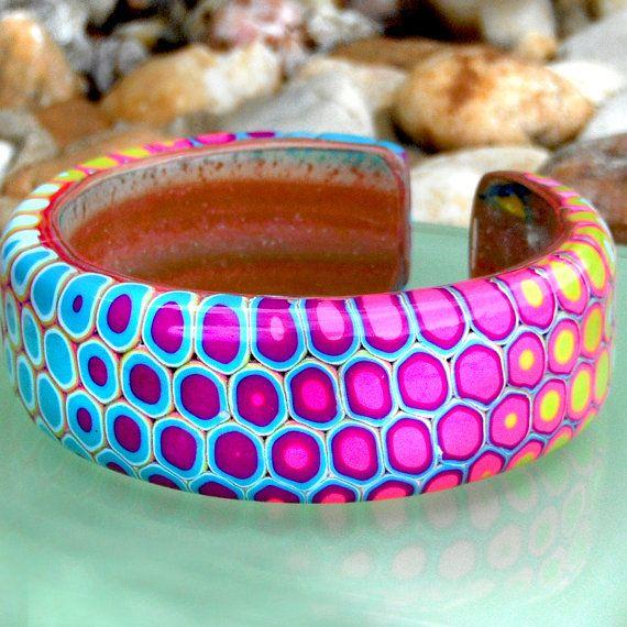Rainbow Retro Mod Polymer Clay Jewelry by purplecactusstudios: $25.00