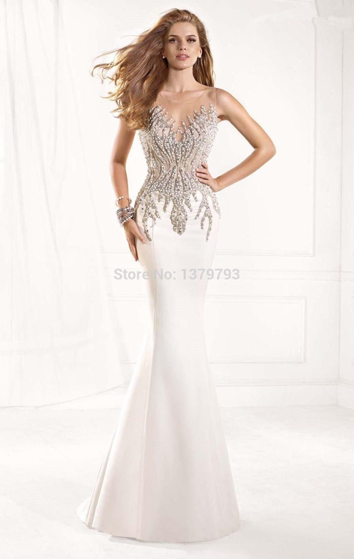Blanco Elegante De La Sirena Largo Prom Vestidos Vestidos De