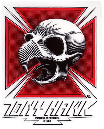 "Powell Peralta Bones Brigade Ripper White Clear Skateboard Sticker Decal 3/"" New"