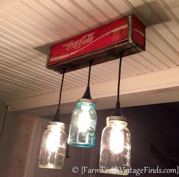 How To Make A Custom Light From A Coke Crate And Mason Jars   Farm Fresh