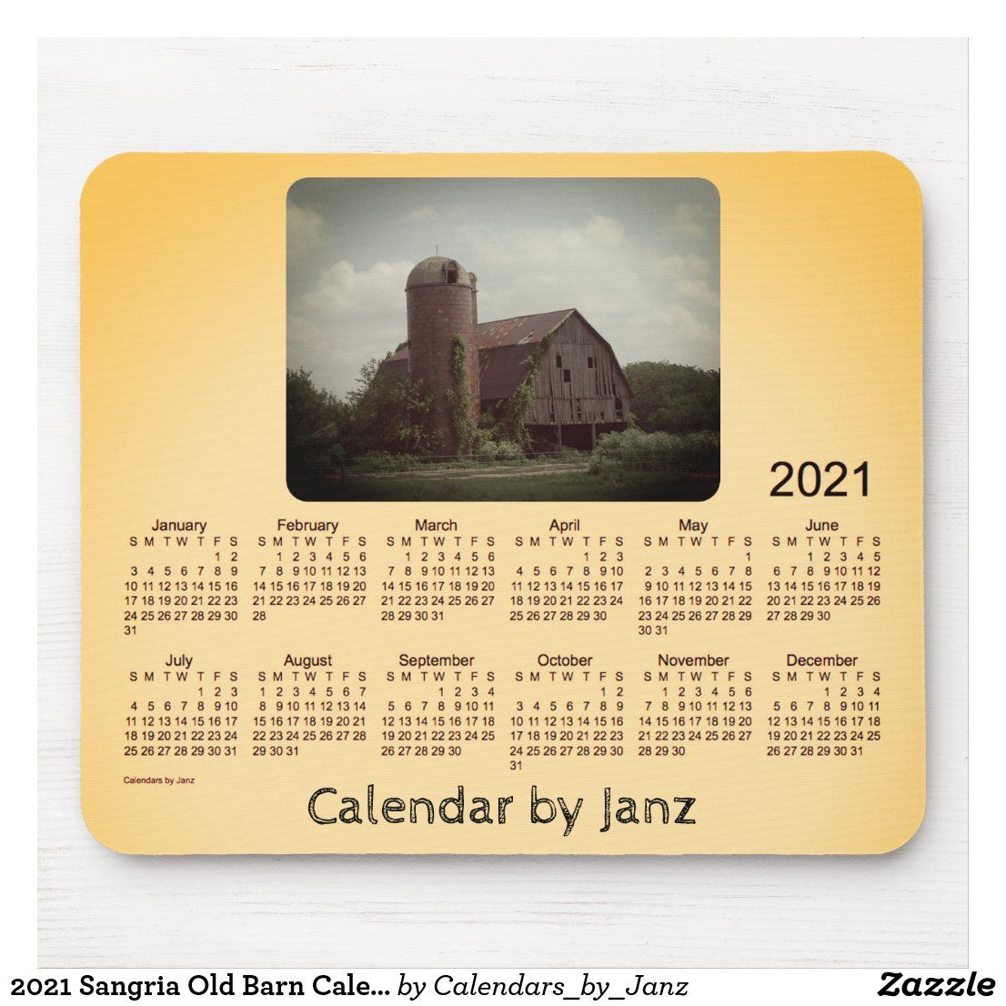 Sangria Old Barn Calendar by Janz Mouse Pad Zazzle