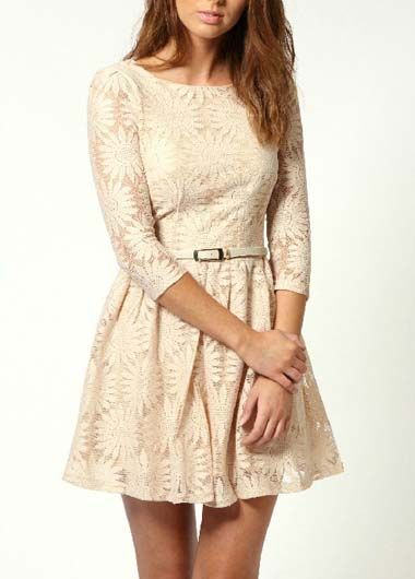 Chic Round Neck White Skater Dress for Autumn | Rosewe.com
