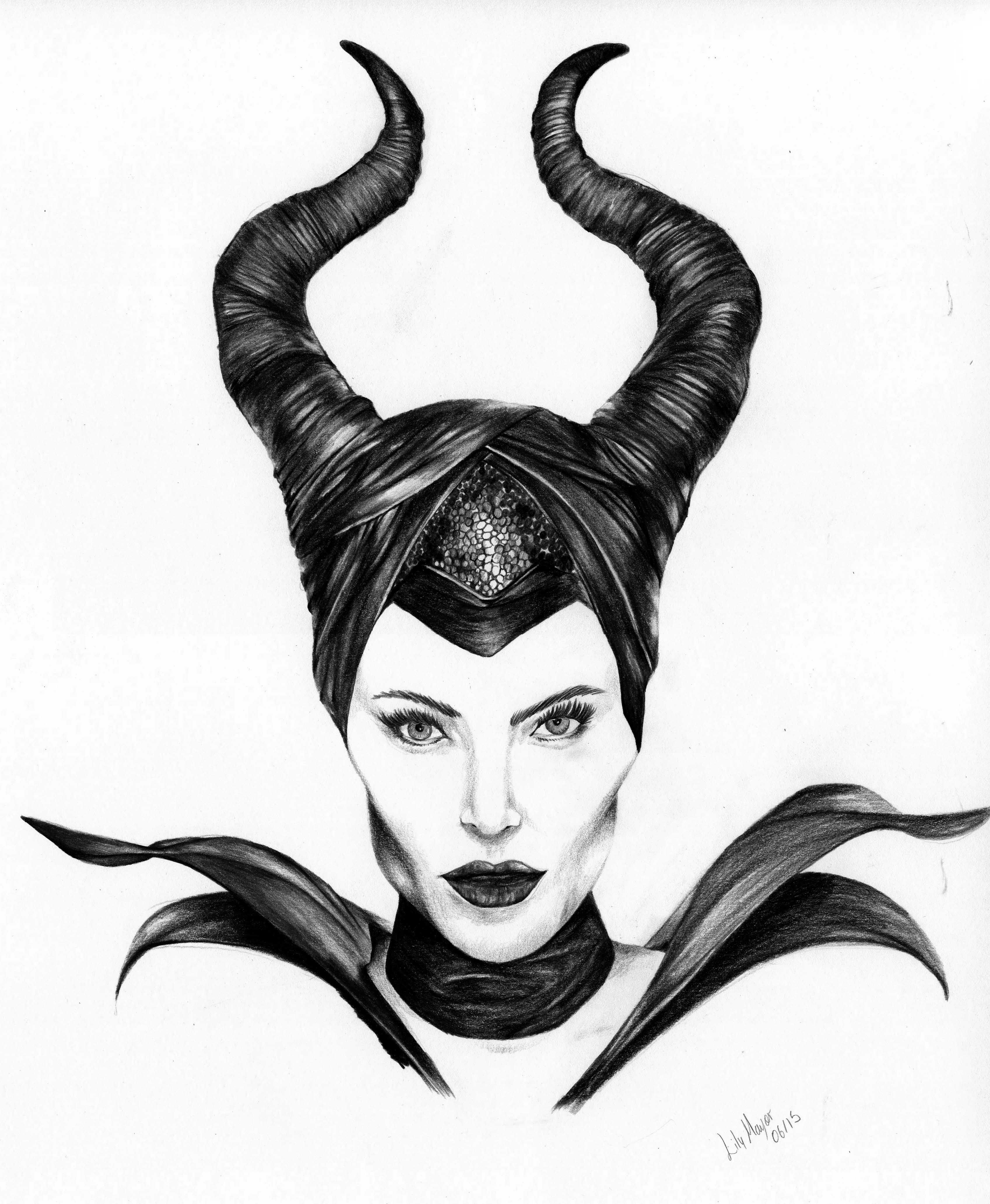 Coloured pencil drawing black and white scan. Maleficent