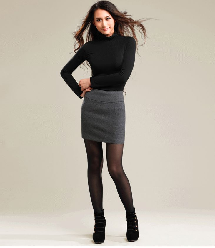Winter Women Wool Thick Tight Pencil Skirt Casual Color Fadeless ...