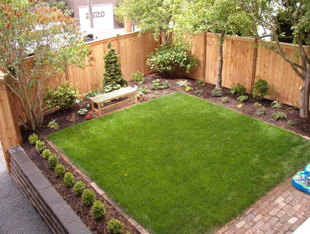 Grass play area brick patio landscape plantings for Landscaping ideas for small areas