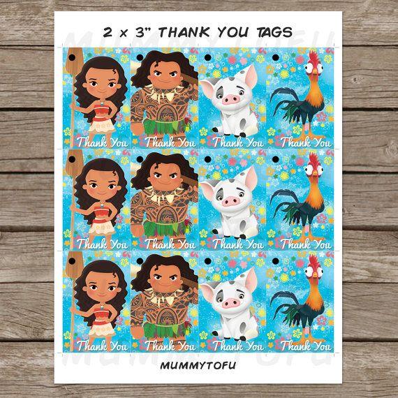 Moana Birthday Thank You Favor Tags - Moana Maui Pua Hei Hei - DIY Party Printable Instant ...