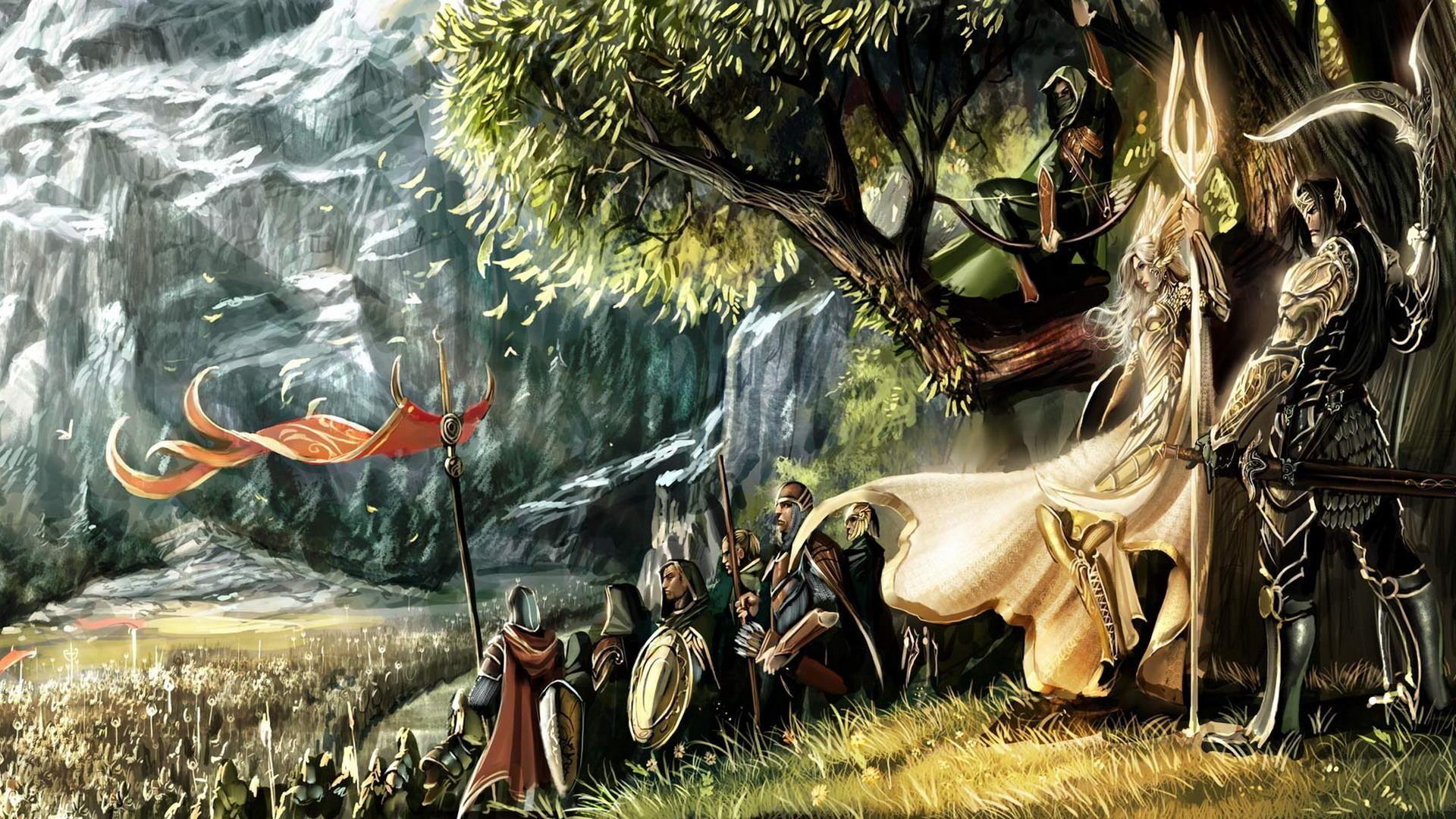 Traveling Elves Hd Wallpaper Get It Now Warriors Wallpaper Fantasy Pictures Wallpaper Backgrounds