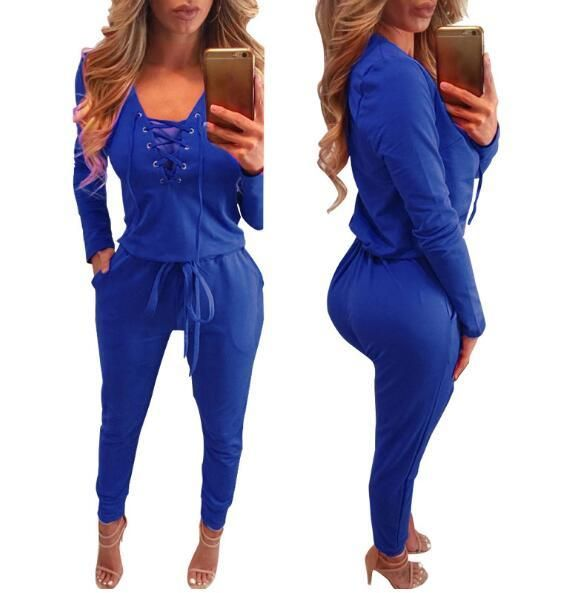 659ca045445 New Bodycon Bandage Jumpsuit Women 2 Deep V Neck Autumn Winter Rompers  Overalls Sexy Bodysuit Slim