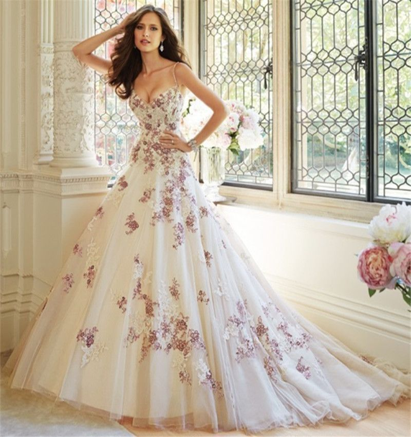 Charming 2016 Spring New Straps White Purple Applique Tulle A Line - Wedding Dresses Purple