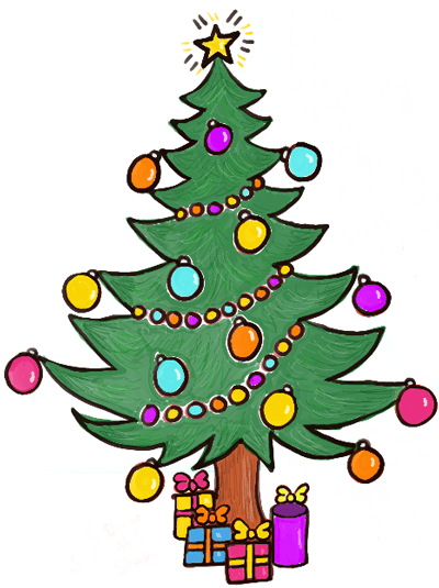 How To Draw A Christmas Tree With Gifts Presents Under It How To Draw Step By Step Drawing Tutorials Cartoon Christmas Tree Christmas Tree Drawing Christmas Tree With Presents
