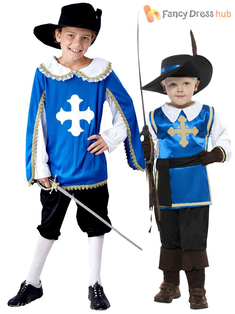 Boys Musketeer Medieval French Historical Fancy Dress Costume Book Day Outfit