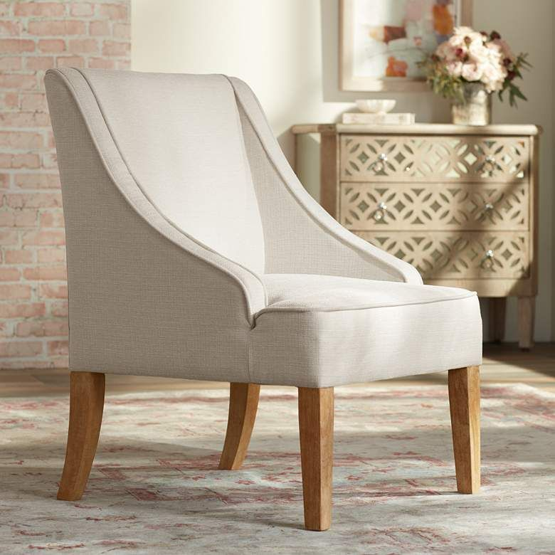 Dixon Ivory Fabric Swoop Arm Chair - #76X38 | Lamps Plus ...