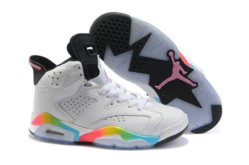 Women Air Jordan 6 Retro Chromatic Colour White Shoes - Authentic Jordans For Women