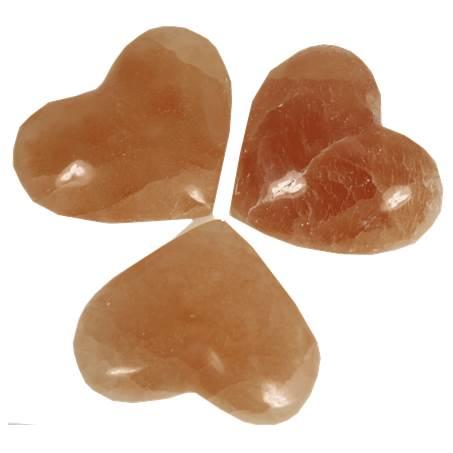 Hart knuffelstenen Seleniet oranje - 8.0x6.0 cm - bij Patipada