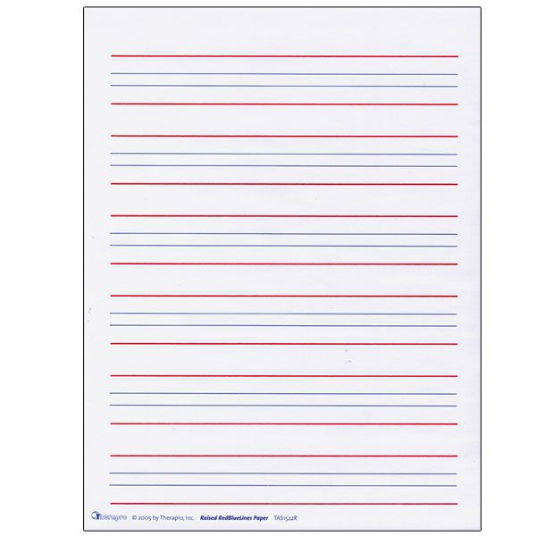 Raised Line Writing Paper Red and Blue Lines Package of 50 – Kindergarten Blank Writing Worksheets