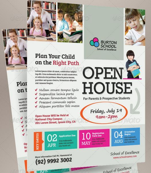 School Open House Flyer Template  Open House Templates