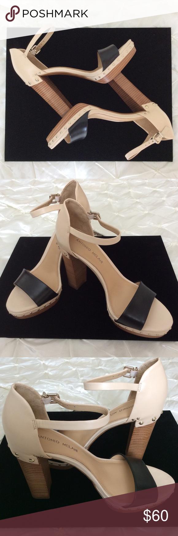 19bca2b6cfa HP ANTONIO MELANI Black   Pink Leather Strap Heels Beautiful light tannish light  pink with black strap leather heels by Antonio Melani!