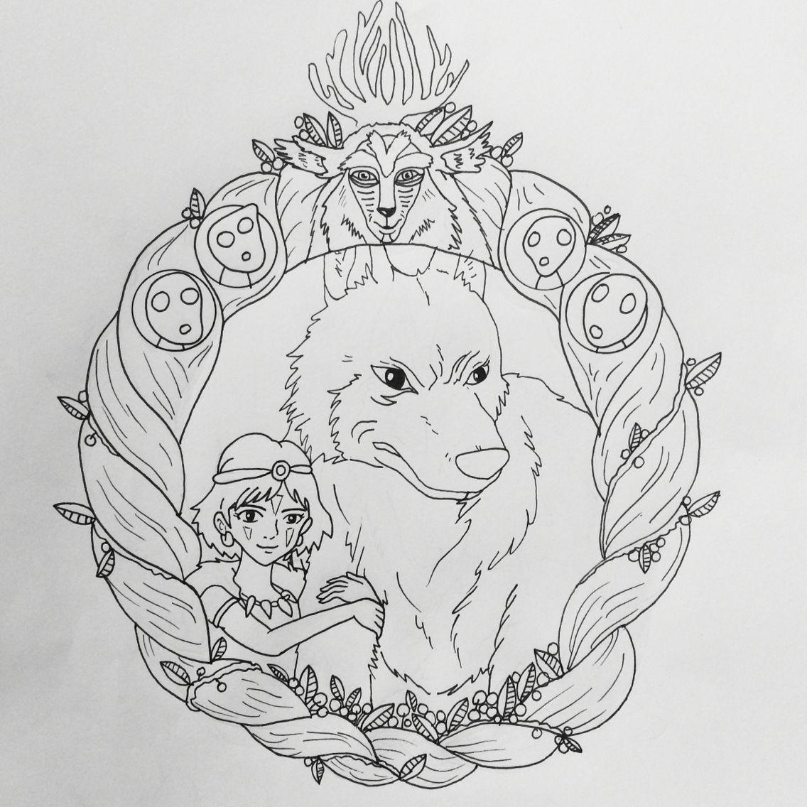 Coloriage Princesse Mononoke.Princess Mononoke Tattoo Outline Tatouage Dessin Et