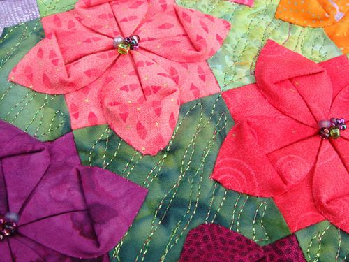 Fabric Origami Flowers Detail Quilts Sewing Fabric