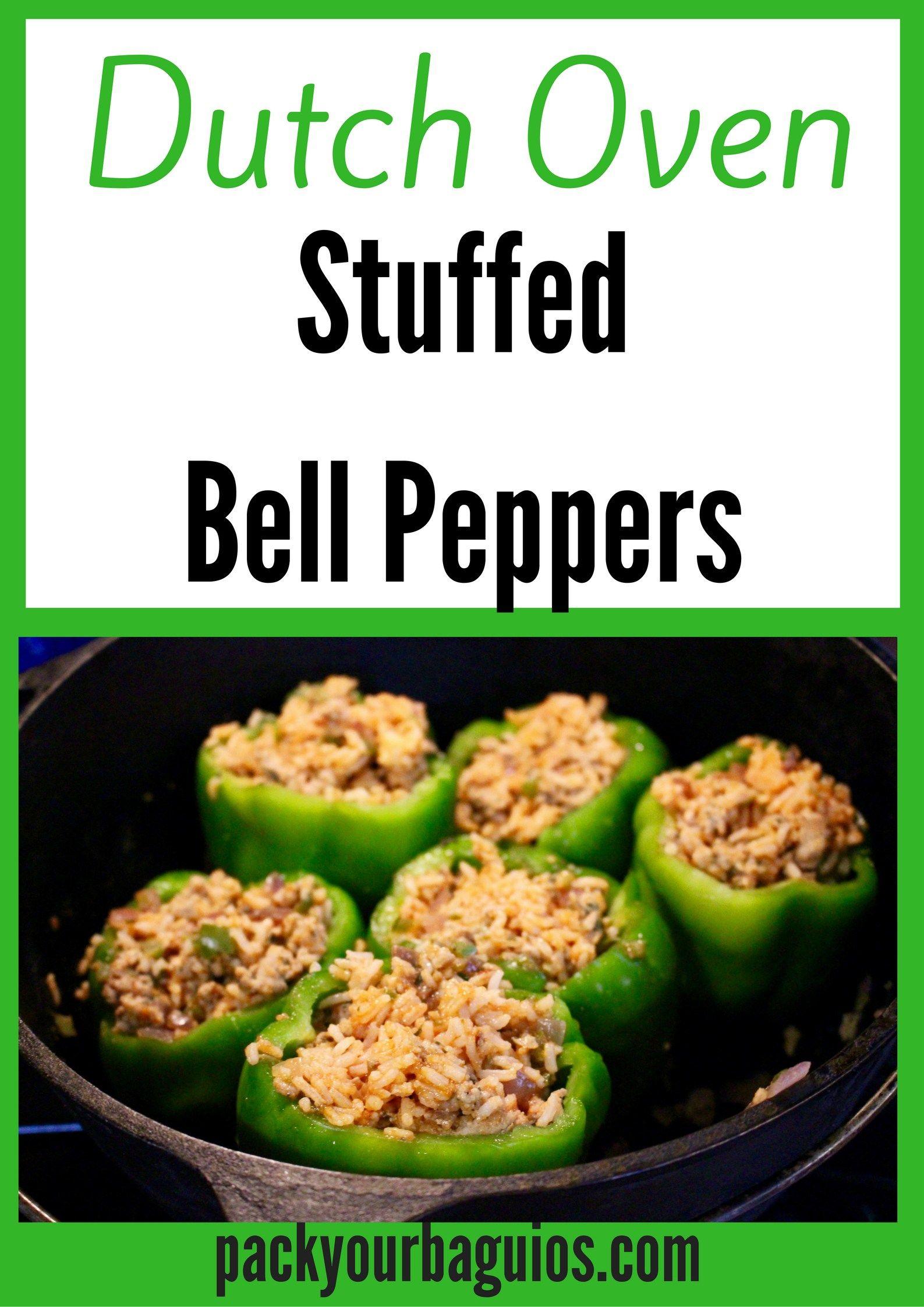 Stuffed Bell Peppers Dutch Oven Recipe Campfire Cooking Camping Stuffed Peppers Stuffed Bell Peppers Meals
