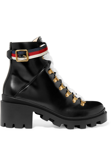 c0933020e21 GUCCI Grosgrain-trimmed leather ankle boots.  gucci  shoes