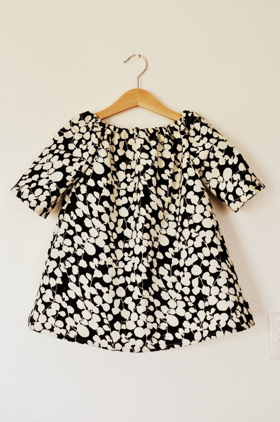 Black and cream splodge toddler girls tunic dress top in cotton fabric age 4. $20.00, via Etsy.