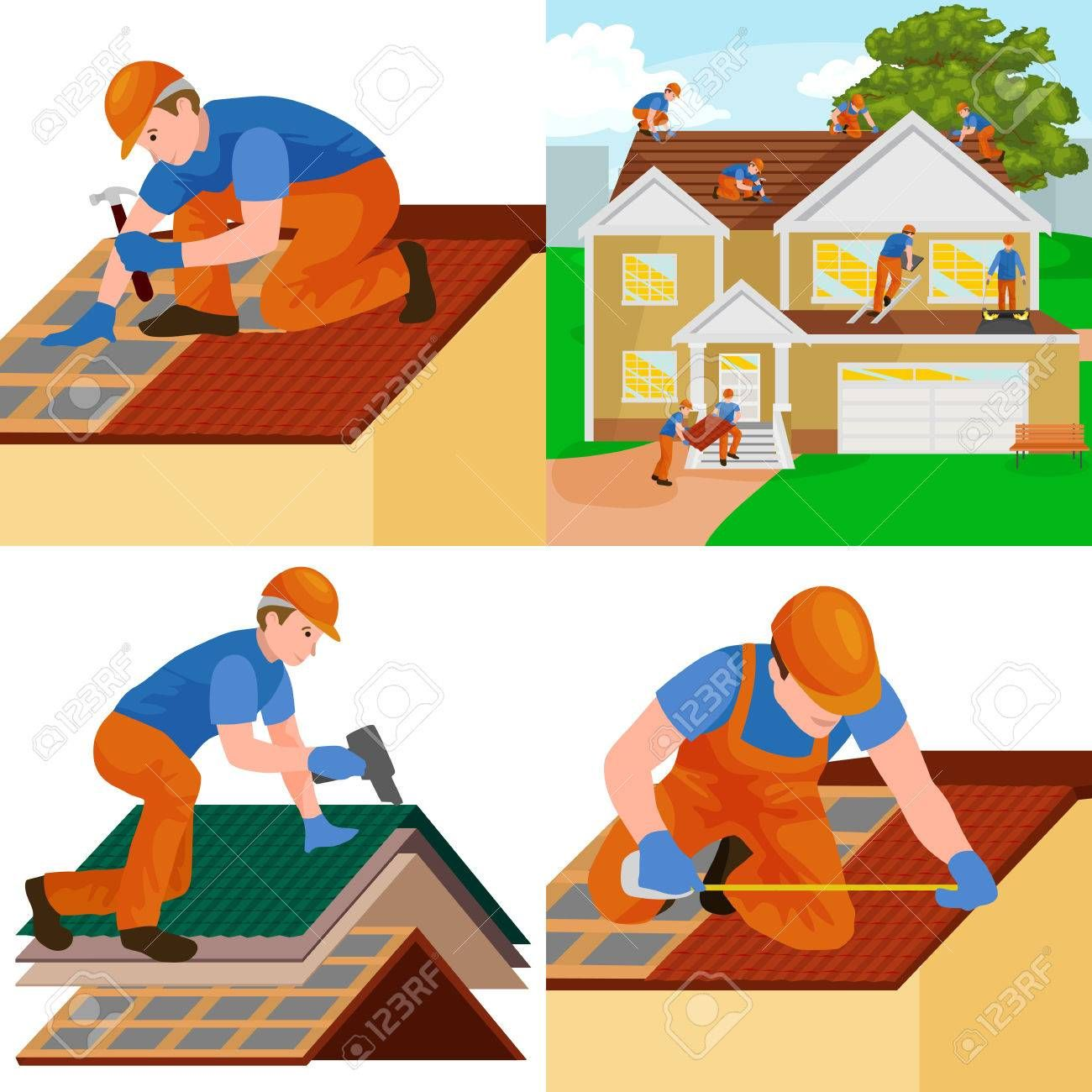 Roof Construction Worker Repair Home Build Structure Fixing Rooftop Tile House With Labor Equip Roof Construction Woodworking Projects Plans Installing Siding