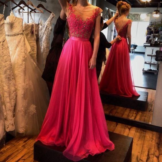 Red 2016 Evening Dresses Sheer Neck Lace Appliques See Through ...