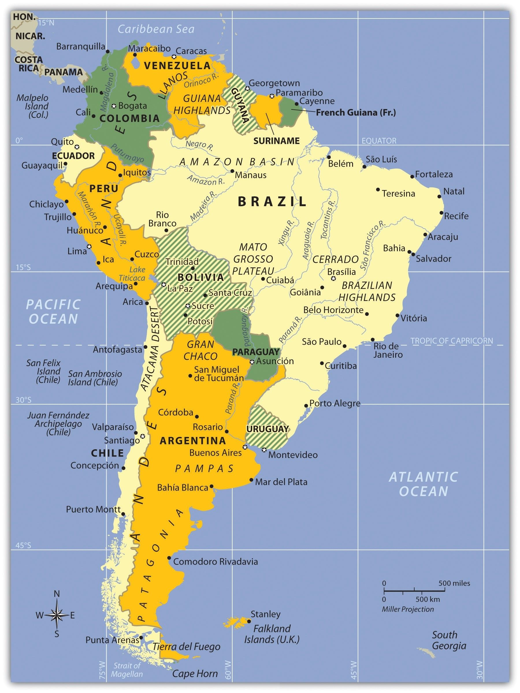South America Physical Map Labeled Elegant New Maps Middle ...