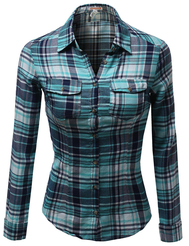 Flannel shirt women  Awesome Womenus Long Sleeve Checkered Button Down Plaid Shirt Top