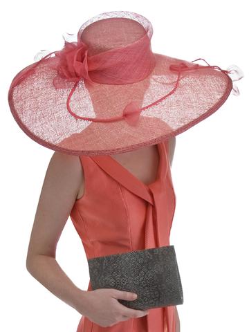 Coral Large Flat Brimmed Sinamay Hat Sinamay Hats Hat Fashion Fancy Hats