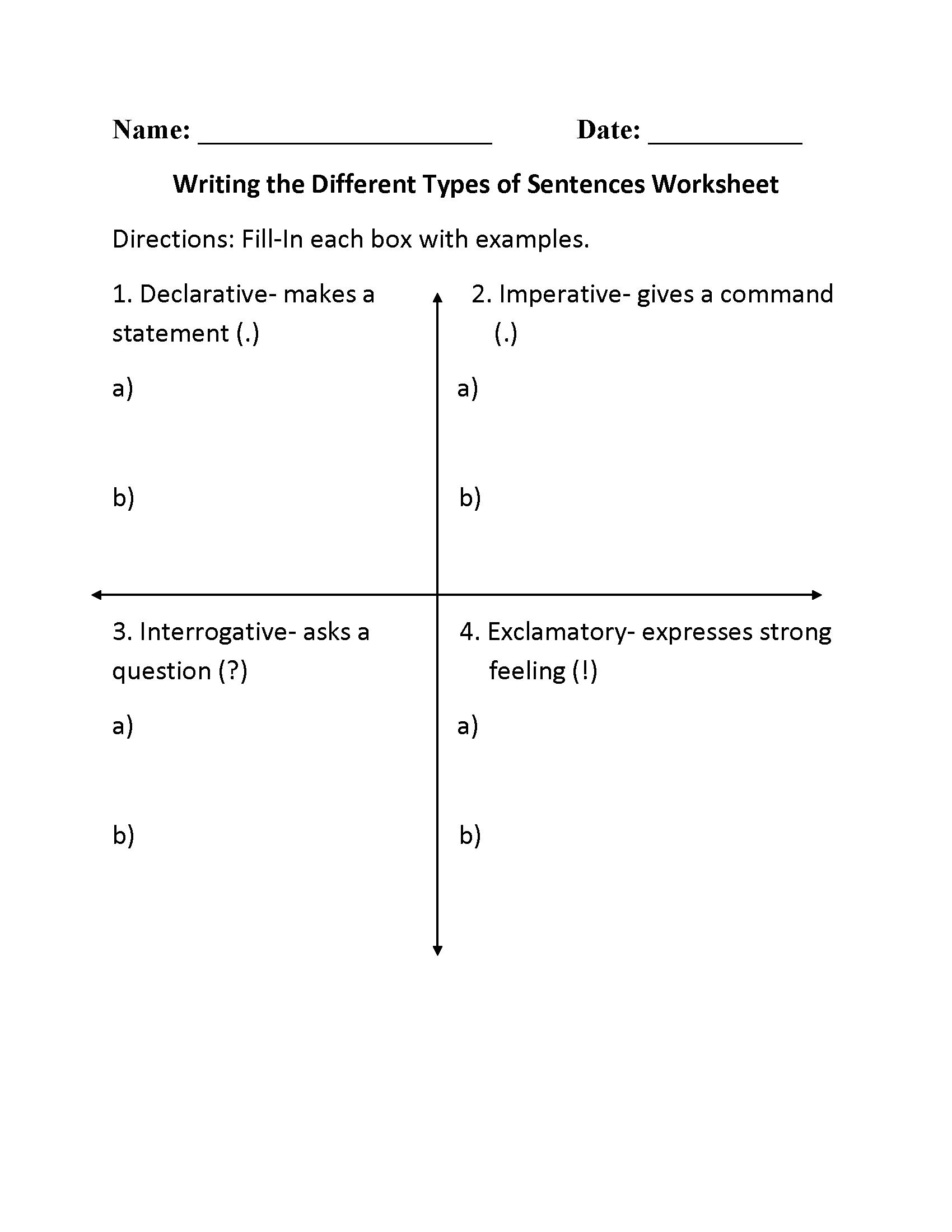 Writing Types Of Sentences Worksheet