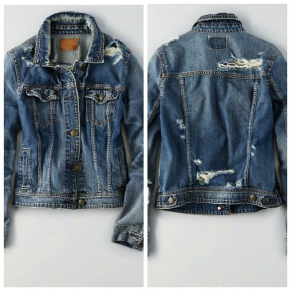 American Eagle Destroyed Denim Jacket NWT Brand new with tags, very comfy  and chic. - American Eagle Destroyed Denim Jacket NWT NWT More American
