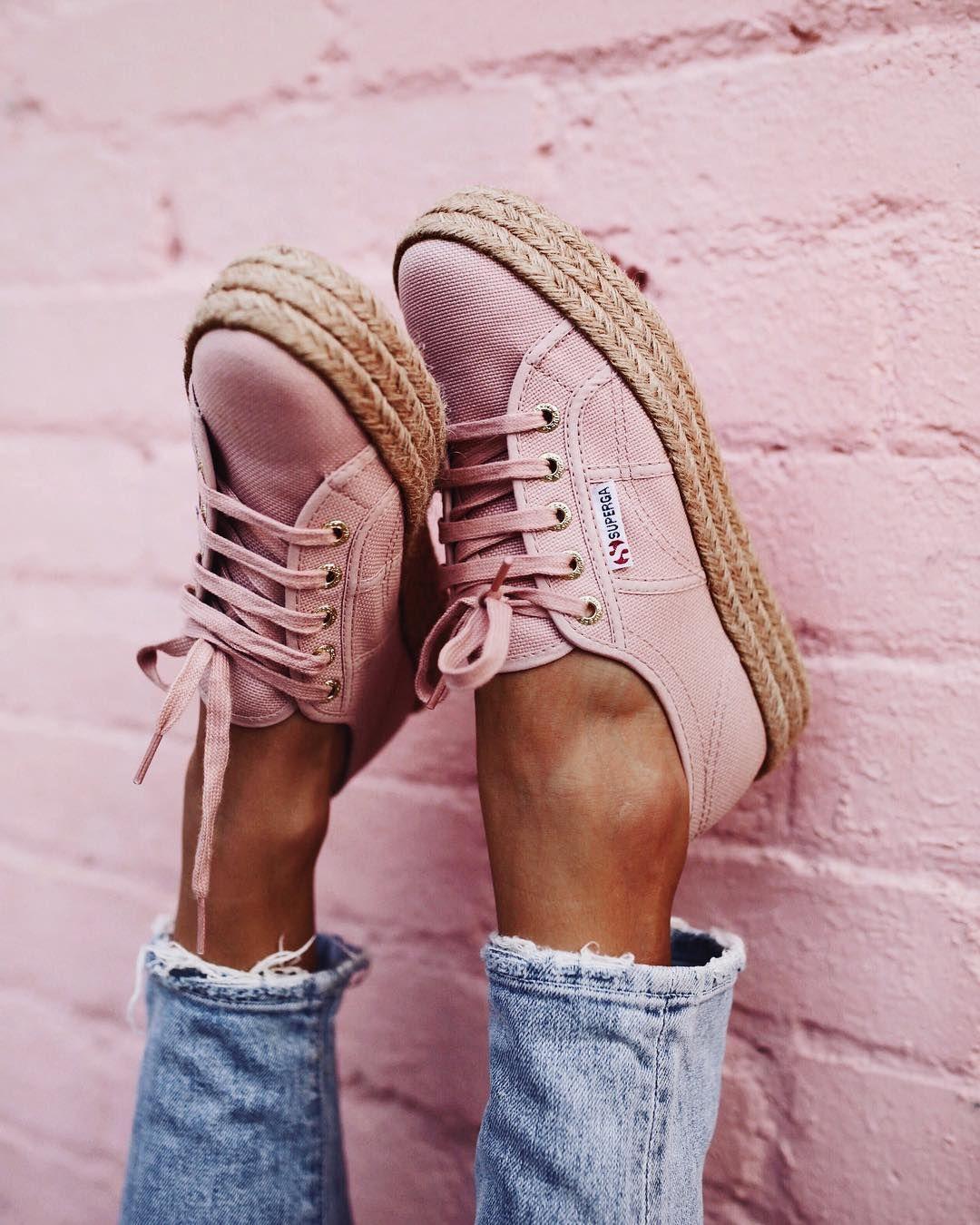 Pink espadrilles, Pink shoes, Superga