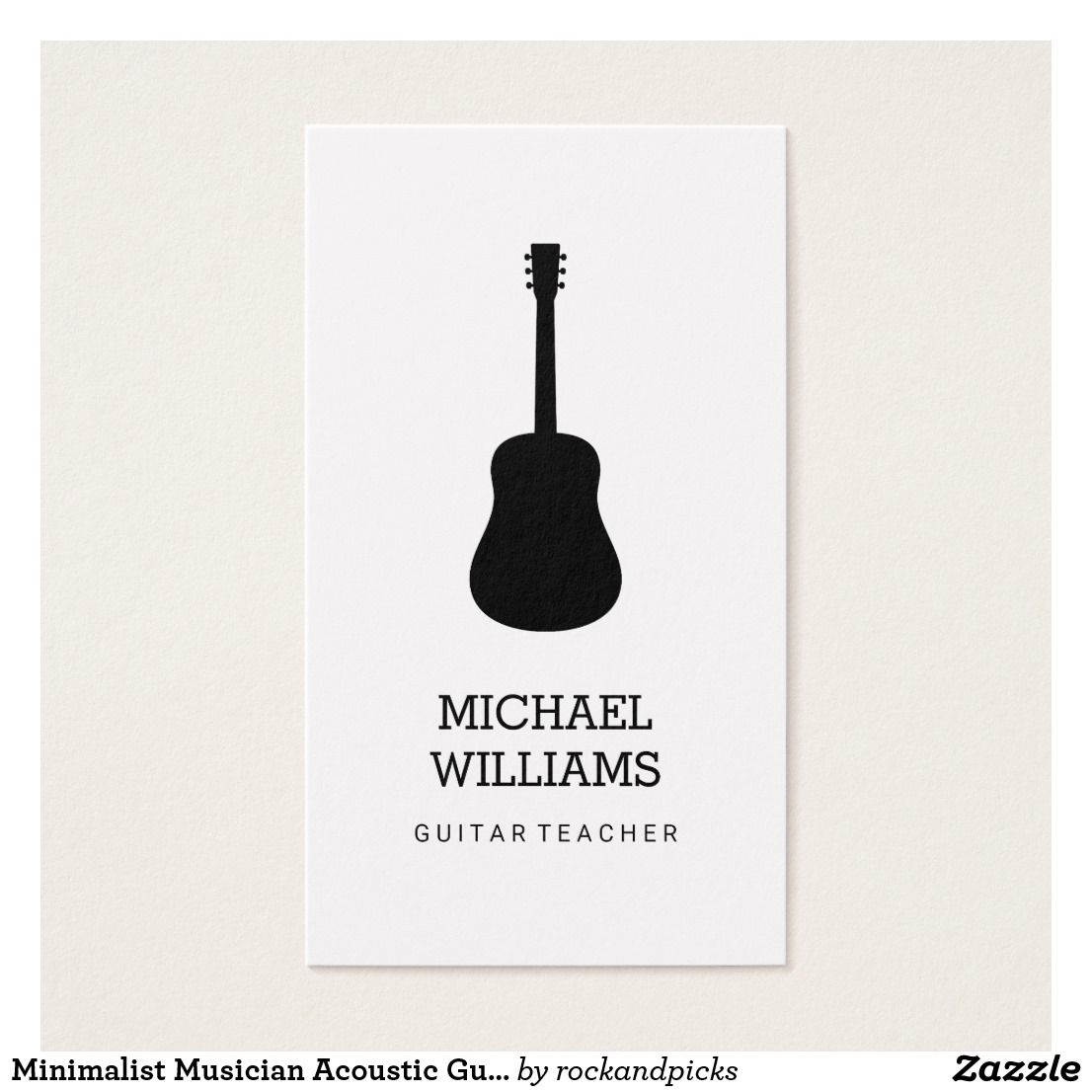 Minimalist Musician Acoustic Guitar Business Card | Business cards ...