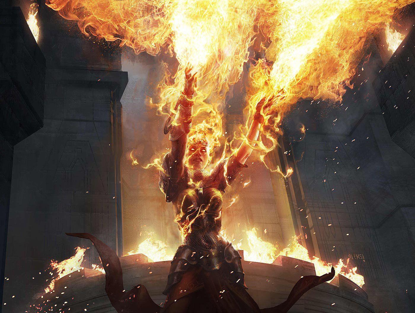 Chandra / Ravaging Blaze, Aleksi Briclot on ArtStation at https://www.artstation.com/artwork/chandra-ravaging-blaze