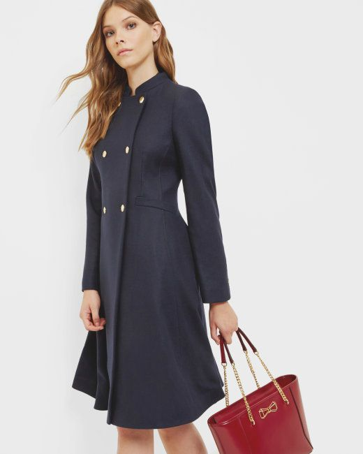 Double breasted flared coat - Navy | Jackets & Coats | Ted Baker