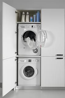 Mueble para lavadora y secadora cocinas pinterest - Secadora encima lavadora ...